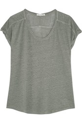 Rag And Bone Cargo Slub Linen Jersey T Shirt Gray Green