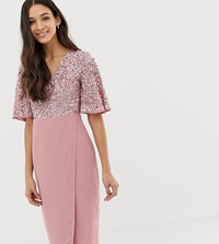 Maya Sequin Top Midi Pencil Dress With Flutter Sleeve Detail In Vintage Rose Pink