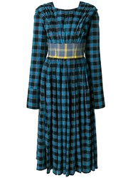 Natasha Zinko Checked Belted Dress Blue