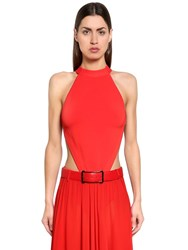 Elie Saab Open Back Viscose Knit Bodysuit Red