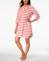Charter Club Snap Front Terry Robe Created For Macy's Bar Stripe Pink