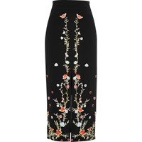River Island Womens Black Floral Embroidered Pencil Midi Skirt