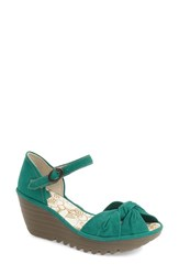 Fly London Women's 'Yoel' Wedge Sandal Nile Green Leather
