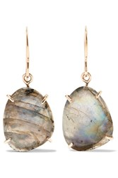 Melissa Joy Manning 14 Karat Gold And Sterling Silver Labradorite Earrings One Size