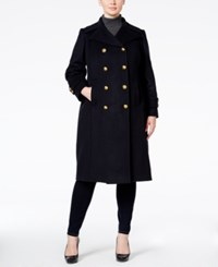 Anne Klein Plus Size Wool Cashmere Blend Double Breasted Military Peacoat Navy
