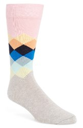 Happy Socks Men's Diamond Pastel Pink Blue