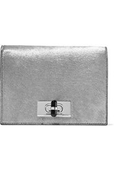 Giorgio Armani Woman Calliope Mini Metallic Calf Hair And Mirrored Leather Shoulder Bag Silver
