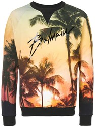 Balmain Palm Tree Print Sweater Yellow