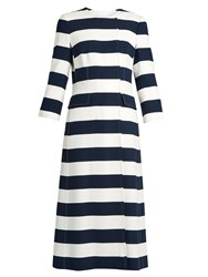 Dolce And Gabbana Striped Double Breasted Cady Coat Blue White