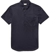 Club Monaco Button Down Collar Cotton Blend Jersey Polo Shirt Midnight Blue