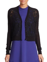Rebecca Taylor Lace Front Cardigan Sweater Chalk Black