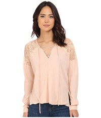 Brigitte Bailey Adley Front Tie Top With Lace Detail Blush Women's Clothing Pink