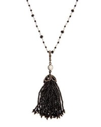 Bavna Long Black Spinel And Diamond Tassel Necklace