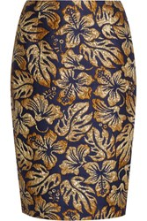 Prada Metallic Floral Jacquard Pencil Skirt Navy