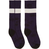 Haider Ackermann Purple And Black Flower Socks