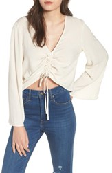 Leith Ruched Front Top Beige Oatmeal Heather