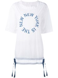 Dkny The New New York Shirt With Drawcords Women Nylon S White