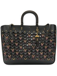 Coach Chain Link Woven Tote Women Leather One Size Black