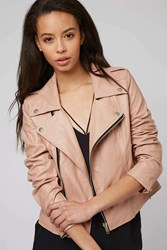Lone Rider Blush Faux Leather Jacket By Goldie Pink