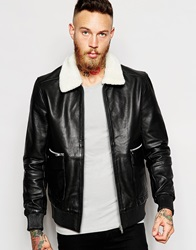 Noose And Monkey Leather Jacket With Shearling Collar Black