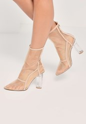 Missguided Nude Mesh Panel Perspex Heeled Ankle Boots