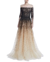 Pamella Roland Off The Shoulder Ombre Sequin And Crystal Beaded Tulle Ball Gown Black Gold