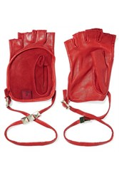 Valentino Studded Leather Fingerless Gloves Red