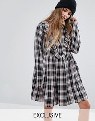 Reclaimed Vintage Frill Front Dress In Check Pink