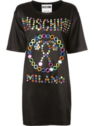 Moschino Mirror Embroidered Logo Dress Black