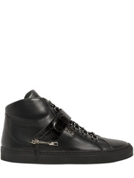D S De Leather High Top Sneakers W Croc Detail Black
