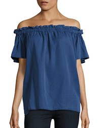 French Connection Solid Off The Shoulder Top Blue