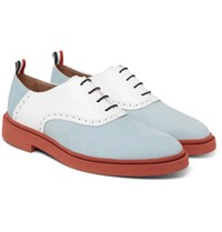 Thom Browne Two Tone Nubuck And Leather Oxford Shoes Blue