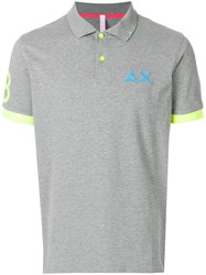 Sun 68 Fluorescent Detail Polo Shirt Grey