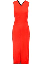 Rag And Bone Cross Back Ponte Paneled Crepe Dress Tomato Red