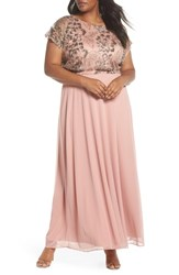 Marina Plus Size Lace A Line Gown Rose