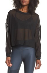 Alo Yoga Ambiance Sheer Pullover Black