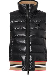 Burberry Icon Stripe Detail Down Filled Puffer Gilet Black