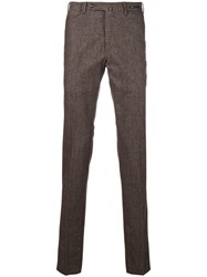 Pt01 Patterned Pleated Trousers Cotton Polyester Spandex Elastane Viscose Brown