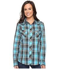 Roper 0651 Turquoise Plaid Embroidery Shirt Blue Women's Clothing