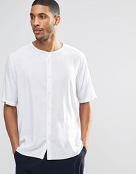 Asos Collarless Shirt In White With Half Sleeve White