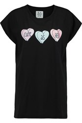 Zoe Karssen Cute As Hell Printed Cotton And Modal Blend T Shirt Black
