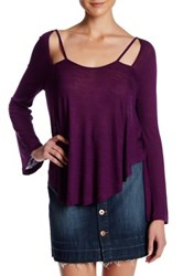 Anama Burnout Knit Cutout Long Sleeve Tee Purple