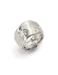 Uno De 50 Hammered Metal Ring Silver