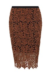 Hallhuber Laced Pencil Skirt Beige