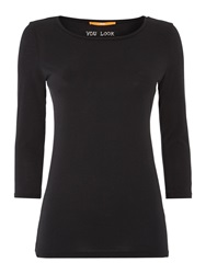 Hugo Boss 3 4 Sleeve Round Neck Top Black