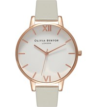 Olivia Burton Ob15bdw02 White Dial Rose Gold And Leather Watch Grey
