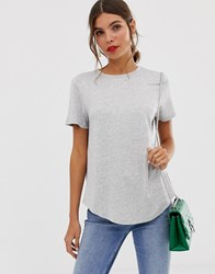 Oasis T Shirt With Dip Hem In Gray Gray