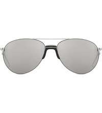 Linda Farrow Lfl3444 Sports Luxe Aviator Sunglasses White Gold Platinum