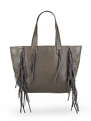 Urban Originals Piper Fringe Patent Tote Bag Graphite
