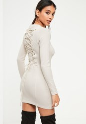 Missguided Grey Corset Front Hooded Bodycon Dress Cream